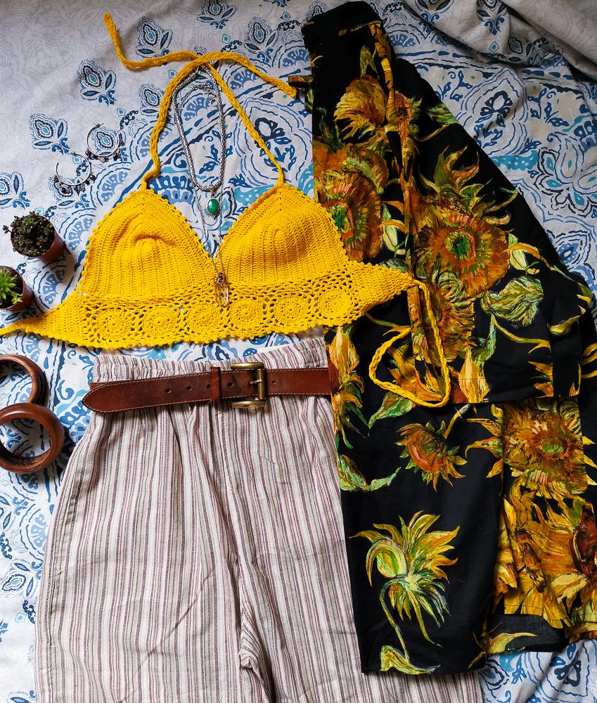 Festival style crochet yellow halter top