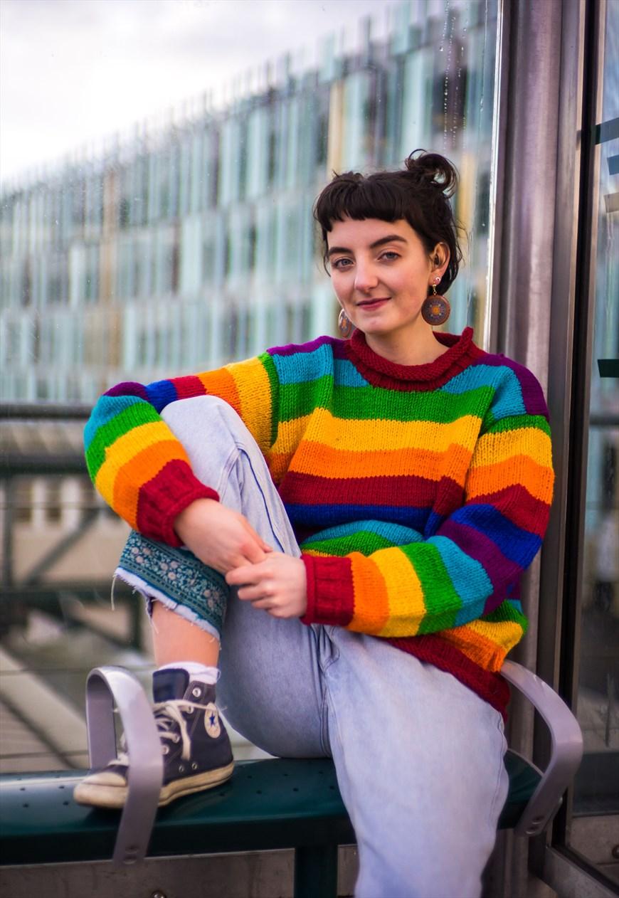 8aeaec5bf8c Fairtrade Handknitted Rainbow Striped Jumper